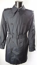 Aquascutum Black Double Breasted Aquamac Packable Trench Rain Coat L Rivet Belt