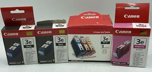 Lot 6 - Canon Cartridges BCI- 3e (2) Black, (1) Cyan, (2) Magenta, (1)  Yellow