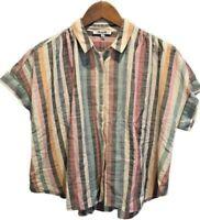 Madewell Womens Hilltop Shirt M Stripe Short Sleeve Cropped Boho Boxy $72 New