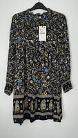 ZARA MULTICOLOURED FLORAL PRINT MINI SHIFT DRESS WITH SMOCKED TRIMS SIZE S BNWT