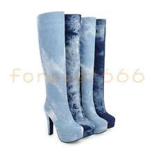 Fashion Denim gr.33-48 Kniehohe Stiefel Mischfarbe Damen Stiefel Platform