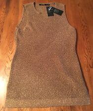 Lauren Ralph Lauren Antique Gold Sleeveless Tunic Sweater Women's L NWT! $120