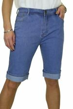 Womens Stretch Denim Turn Cuff Jeans Style Shorts Mid Blue NEW 14-24