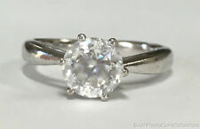 Estate Jewelry 8mm Round Cubic Zirconia Solitaire Ring Sterling Silver Size 9