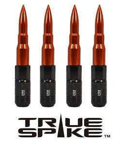 16 TRUE SPIKE 121MM 12X1.5 ORANGE EXTENDED STEEL TUNER SPIKED BULLET LUG NUTS B