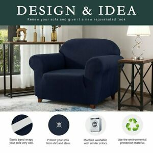Stretch Armchair Slipcover 1 seater sofa chair furniture protector blue jacquard