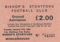Ticket - Bishop's Stortford v Middlesbrough 11.01.83  FA Cup