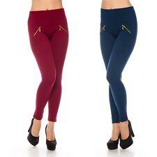Damen-Hose Damen-Leggings Sexy Blickdicht High-Waist Hoher-Bund Zipper 36 - 42