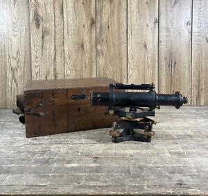 Vintage Hall Bros Military Crow Foot Theodolite Surveyors Measure With Case.