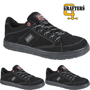 Womens Ladies Grafters Lightweight Leather Steel toe Cap Safety Shoes Work Boots