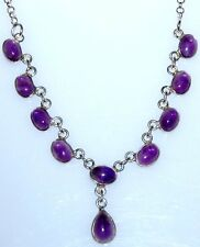 Purple AMETHYST, Delicate 925 Sterling Silver Necklace NEW Jewellery!