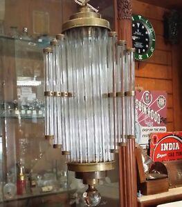 ANTIQUE VINTAGE ART DECO BRASS GLASS CEILING FIXTURE CHANDELIER SHIP LIGHT LAMP
