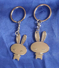 KEYRING Key Ring Chain Bunny 2 Pc Set Double Fob Couple Love Silver RABBITS Gift