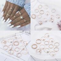 13pcs Boho Midi Finger Ring Set Women Vintage Star Moon Knuckle Rings Jewelry