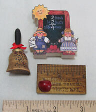 Teacher Brooch Pin Wood Ruler Apple Bell Chalk Board with Girl Boy Sun Lot of 3