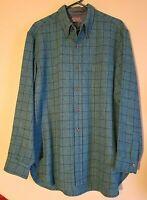 Pendleton 100% Virgin Wool Long Sleeve Striped Button Shirt Men's XL