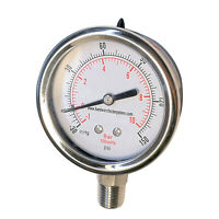 "HFS(R) -30 to 150HG Vacuum Air Pressure Gauge, 1/4"" Male NPT Lower Mount"