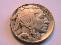 1930-P Buffalo Nickel Ch Very Fine VF Original Grey Tone Indian Head 5 Cent Coin