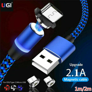 3ft 6ft Magnetic LED Fast Charging Cable For IOS Micro USB Type C Adapter Phone