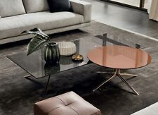 Coffee Table Design Metal Marble Round Gold Italy Furniture Living Room