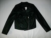 SANCTUARY Black Vegan LEATHER Lined MOTO Hip JACKET Womens Size SMALL NEW