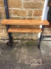 Bespoke H80 x W80 x D20cm steampunk industrial steel console table with shelf