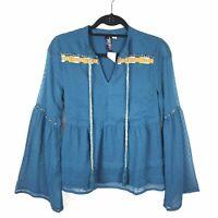 NEW $44 Francesca's Blue Rain Teal Womens Layered Ruffle Boho Style Peasant Top