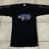 Harley Davidson Vintage 90 Thermal Shirt Black Size XL Motorcycle Bike JE Morgan
