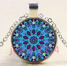 Vintage Mandala Cabochon Tibetan silver Glass Chain Pendant Necklace #4422