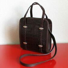 Brighton Genuine Leather Medium Crossbody Purse Crocodile Pattern Braided Handle