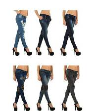 L32 Markenlose Stonewashede Damen-Jeans
