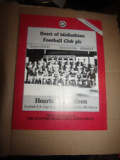 Hearts v Aberdeen programme Scottish Cup Quarter final 9 March 1985