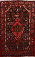 Geometric Nomadic Hamedan Hand-knotted Area Rug Classic Oriental Wool 4x6 Carpet