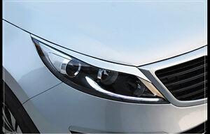 A3D Silver Headlight Eyebrow Eyelid for 2011 2013 Kia Sportage