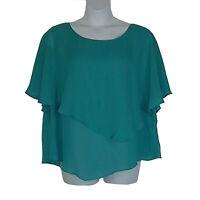 Drapers & Damons Turquoise Blue Layered Semi-Chiffon Spring Top Plus Size 26W 3X