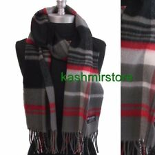 CASHMERE SCARF MADE IN SCOTLAND PLAID Gray Red black SOFT Wool Wrap⭐️⭐️⭐️⭐️⭐️(9)