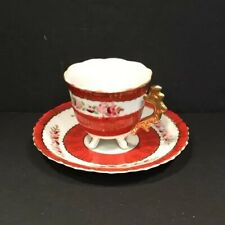 Porcelain Hand Painted Miniature Tea Cup And Saucer Footed With Golden Handle Ma
