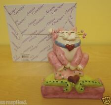 NEW WhimsiClay Cat Amy Lacombe Business Card Holder #23460 Hearts NIB