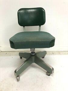 Vintage INDUSTRIAL OFFICE SWIVEL CHAIR desk tanker mid century metal green 60s