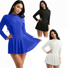 Women Adult Long Sleeve Figure Ice Skating Dress Dance Gymnastics Leotard Dress