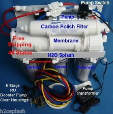 RO 5 Stage Clear 50 GPD Boost Pump Reverse Osmosis System Water Filter H2O