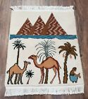 """Small Vintage Egyptian Accent Rug Pyramids Camels Pictorial Tapestry 1'5"""" x 1'8"""""""