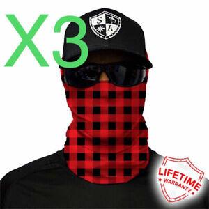 3 Salt Armour SA Co. Fishing Face Shield / Mask Lumberjack Red Plaid