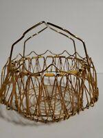 Vintage Antique Wire Egg Basket Handle Gold Wire  Farm Decor