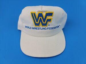 Vintage 1988 WWF Wrestling Snapback Hat Cap White & Blue Titansports USA made