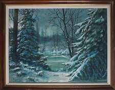 Tableau Sous bois enneigé paysage de Montagne signé Victor DUMAY (1901-1981)