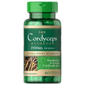 Cordyceps Sinensis Mushroom 1500mg per 2: 60 Caps - Cordycepic Acid by Puritan's