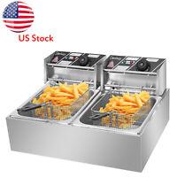 Fryer Deep Electric 5000w Commercial Dual Tank Basket Countertop Restaurant 12L