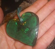 Vintage Mexican Art Glass Big GREEN HEART Handmade 1980s- NZ Antique Estate