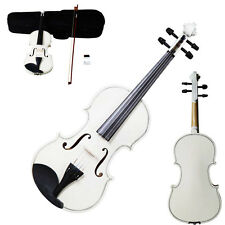New Acoustic Violin 1/4 Size White + Case+ Bow + Rosin for Kids 6-8 Years Old